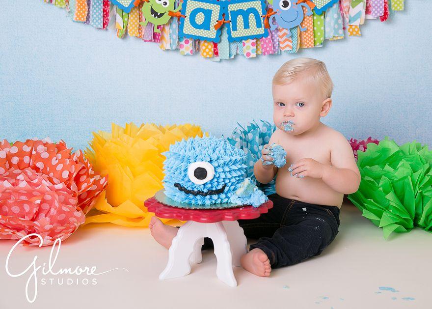 First birthday little boy sitting up Costa Mesa CA blonde hair