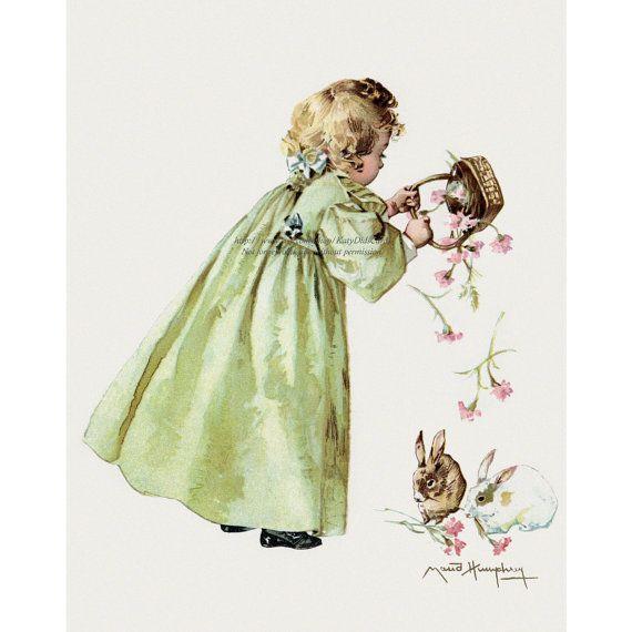 Easter Bunnies Fabric Block - Maud Humphrey Girl with Bunny Rabbits