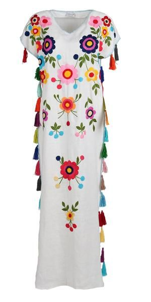 Fanm Mon White Linen Multi Color Floral Handmade Embroidered Folk Tassels Maxi  Kaftan Style Dress KAF003 7c92141672
