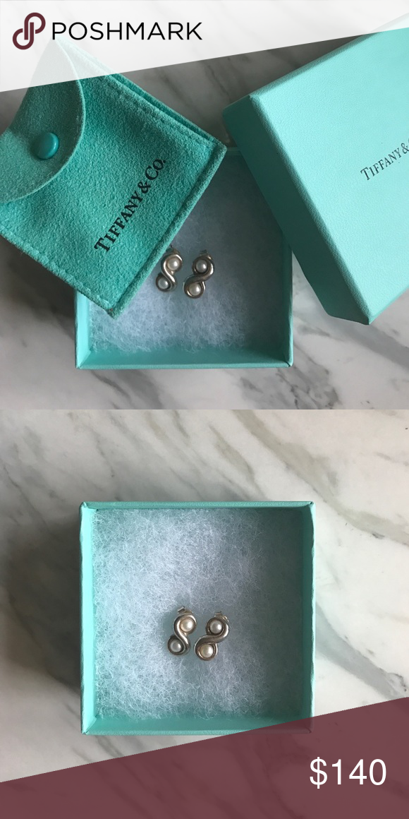 3b1206308 Tiffany & Co Sterling Silver and Pearl Earrings Tiffany and Company  Infinity Earrings. Comes with box and pouch. Tiffany & Co. Jewelry Earrings