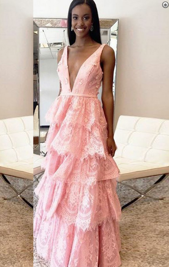A-Line Deep V-Neck Tiered Pink Lace Backless Prom | Best Dresses to ...