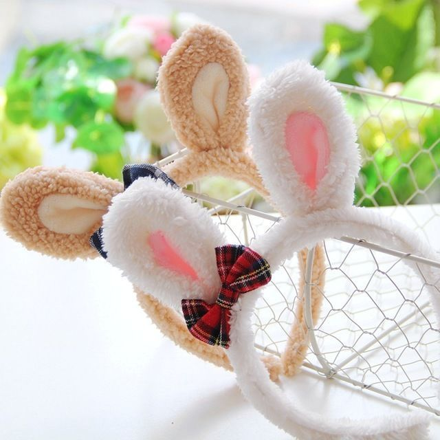 EUB Easter party Bunny Rabbit Fluffy  Ears Costume Masquerade Hairband #shoppingglobal #cute #easter