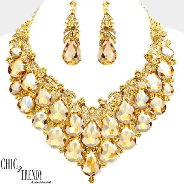 HIGH END GOLD CHUNKY GLASS CRYSTAL FORMAL WEDDING FASHION NECKLACE