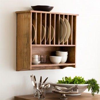 Wall Mounted Mango Wood Plate Rack - Alison at Home & Wall Mounted Plate Rack | Plate rax | Pinterest | Plate racks Wall ...