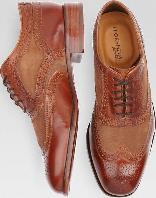 Florsheim Cognac Wingtip Lace-Up Shoes