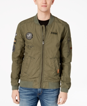 c01bd4a2b Superdry Men's Rookie Aviator Patch Full-Zip Bomber Jacket - Green S ...