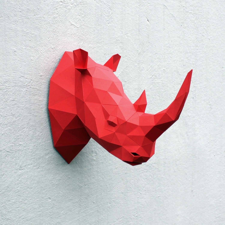 Papercraft Rhino Head Digital Template Paper Art Paper Crafts Diy Printables