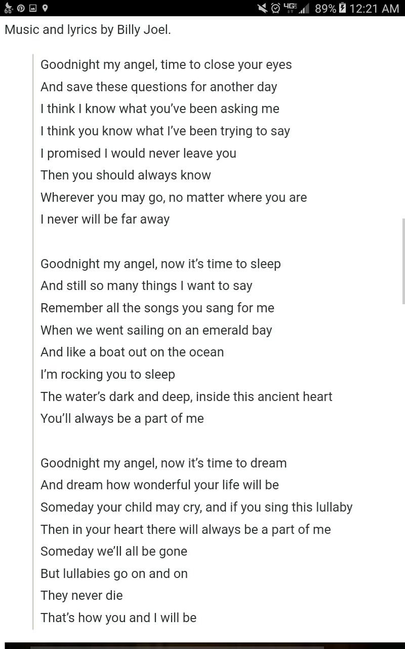 Father Daughter Dance Song Billy Joel Lullaby Lullaby Lyrics Baby Lullaby Lyrics Father Daughter Dance Songs