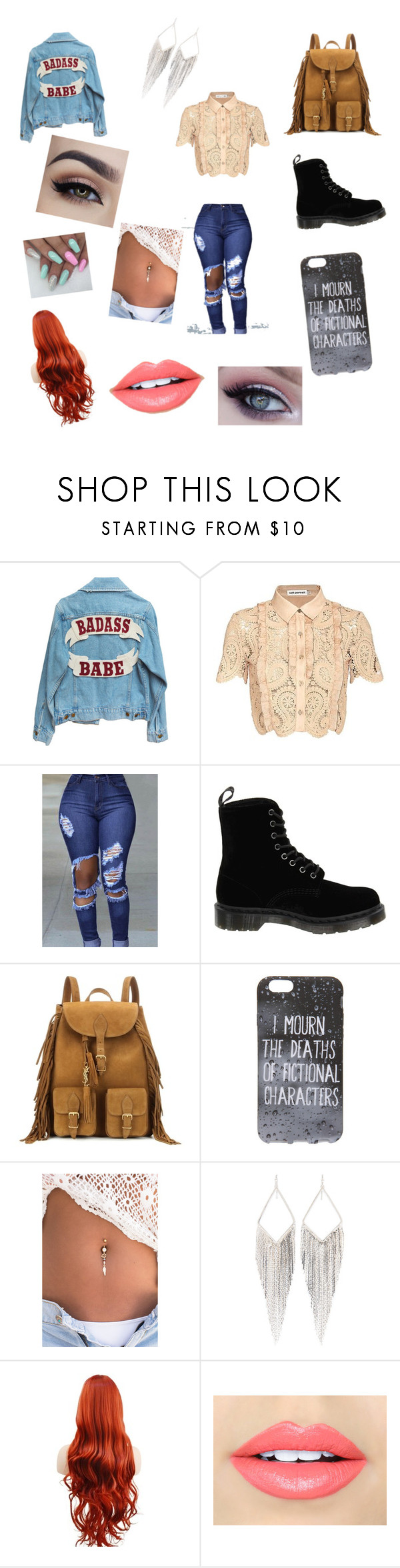 """""""College Class"""" by gemini-galibear on Polyvore featuring self-portrait, Dr. Martens, Yves Saint Laurent, Jules Smith and Fiebiger"""
