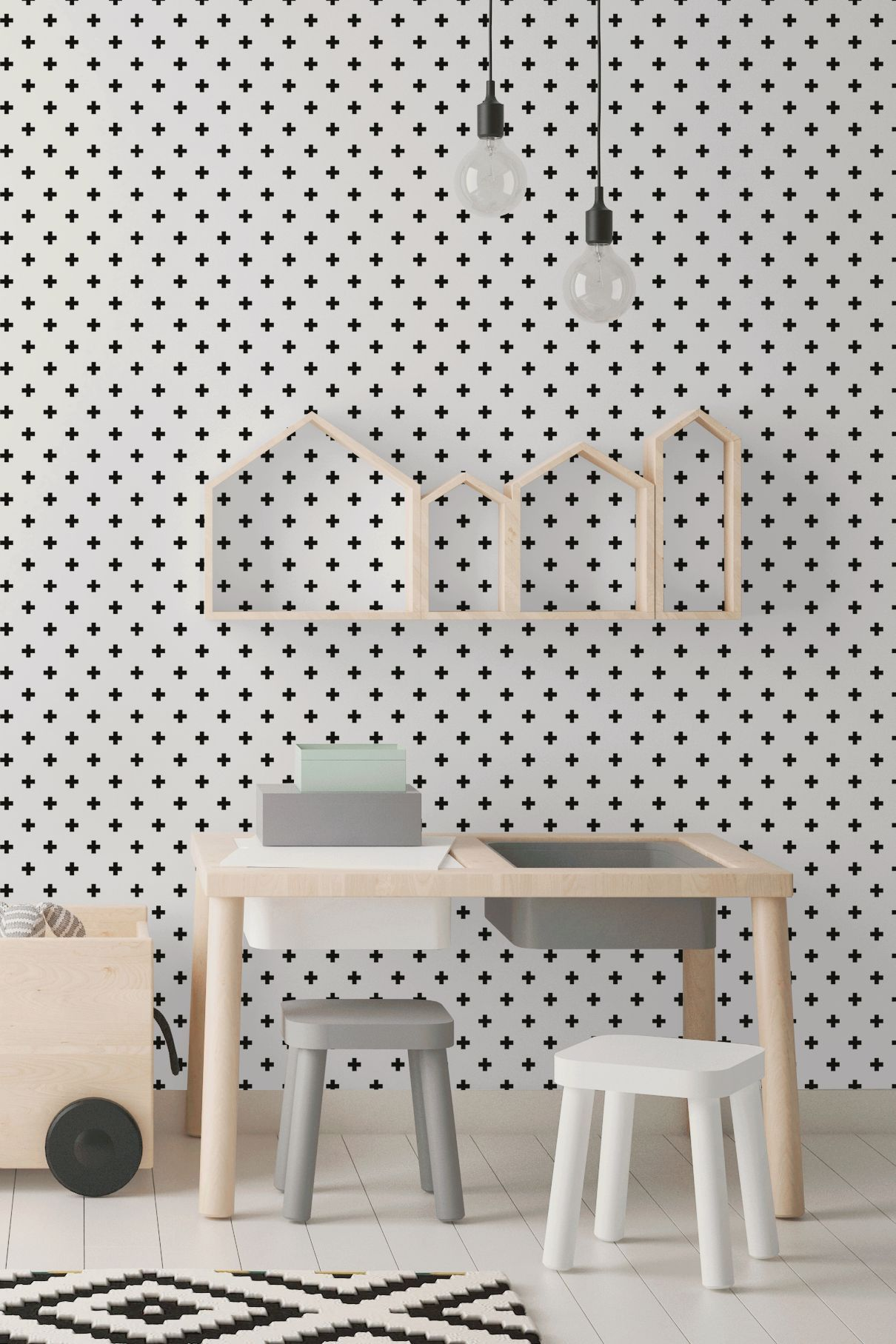 White And Black Cross Geometric Peel And Stick Removable Wallpaper 2016 Geometric Removable Wallpaper Geometric Wallpaper Design Removable Wallpaper