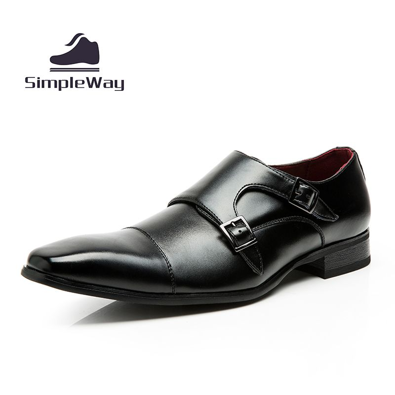 Mens Casual Luxury Brand Flats Genuine Leather Black Formal Dress Double Monk Buckle Strap Wedding Brogues