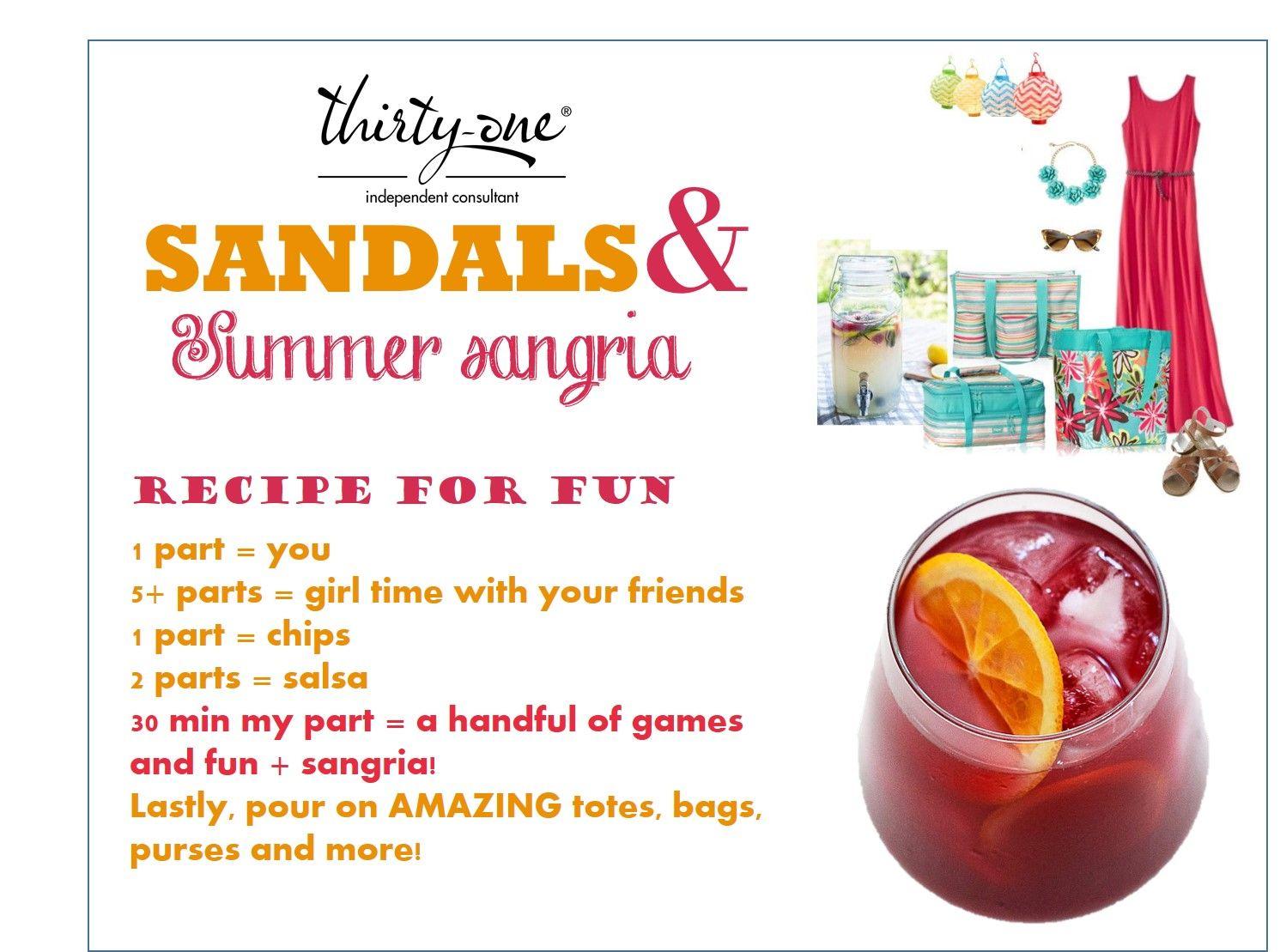 sandals sangria party invite www.mythirtyone.com/apeterson86 ...