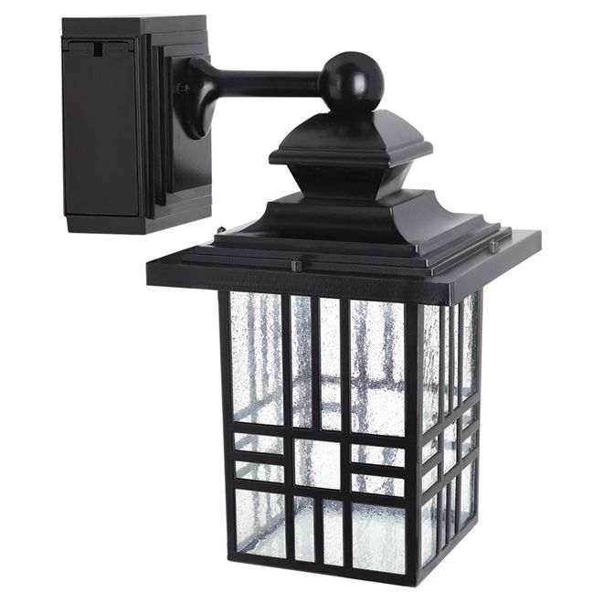 Led wall lantern with gfci outlet rona backyard pinterest garden and walls