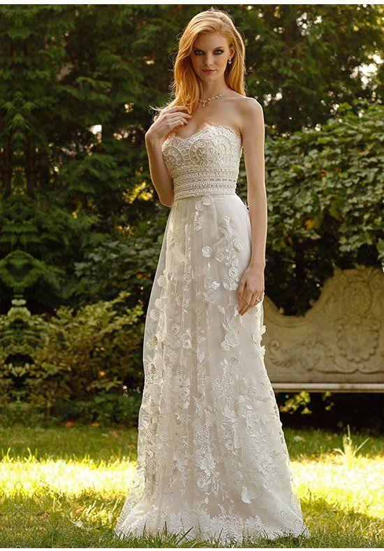 Jovani Wedding Dress with Lace Flowers