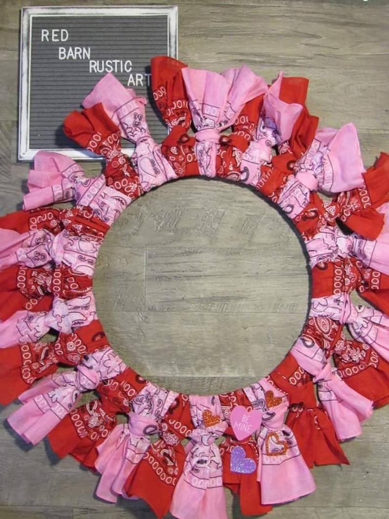 Valentine S Bandana Wreath Etsy In 2020 Bandana Wreath Valentine Coloring Handmade Valentine