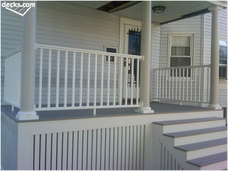 Deck skirting and fascia likes board for Front porch deck designs
