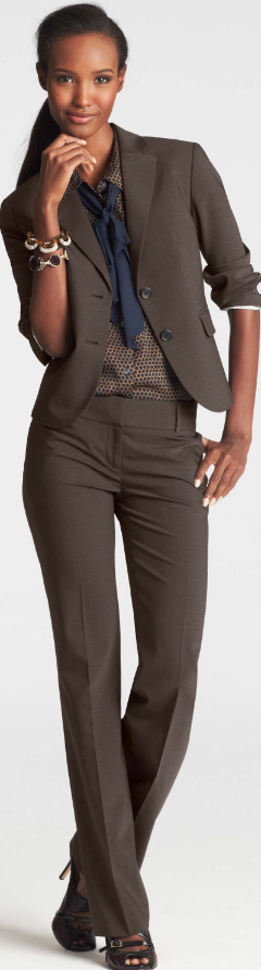 Work outfit - business casual - brown suit   dotted silk blouse   ...