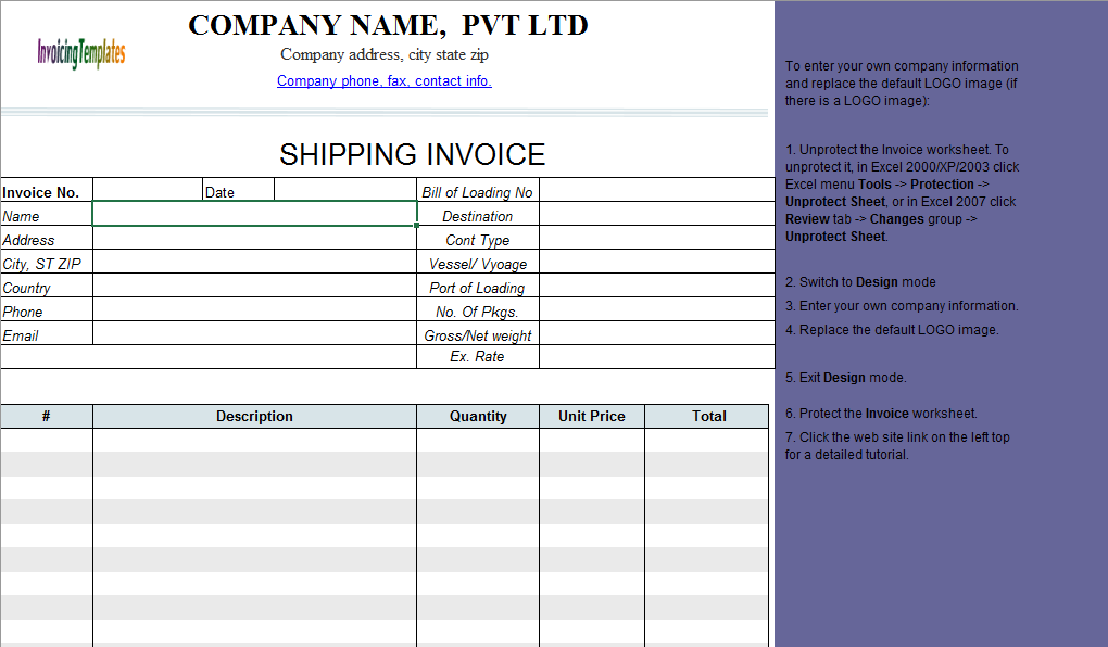 Free Shipping Invoice Template ( | Inspiration for art