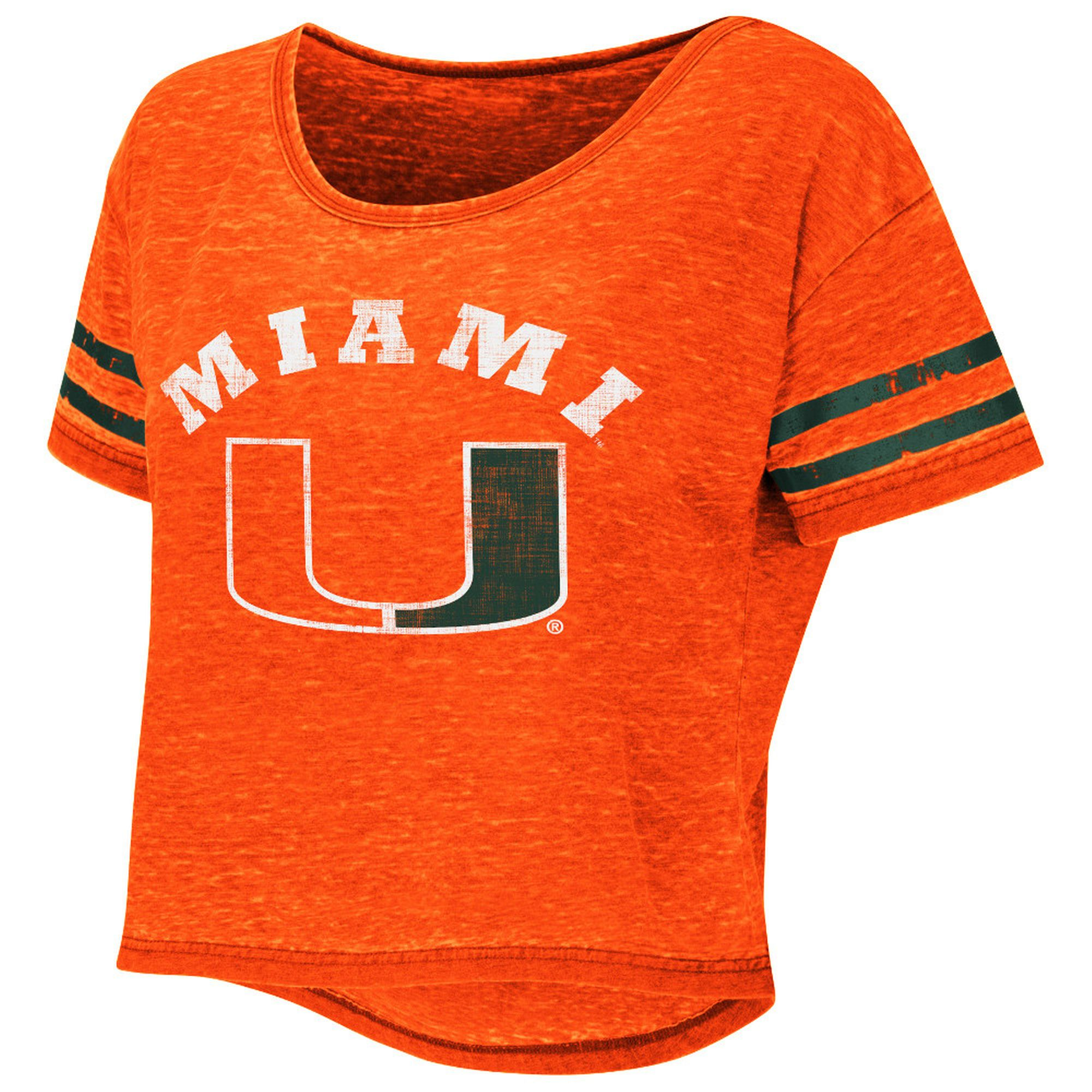 Women's Colosseum Orange Miami Hurricanes Red Zone Crop