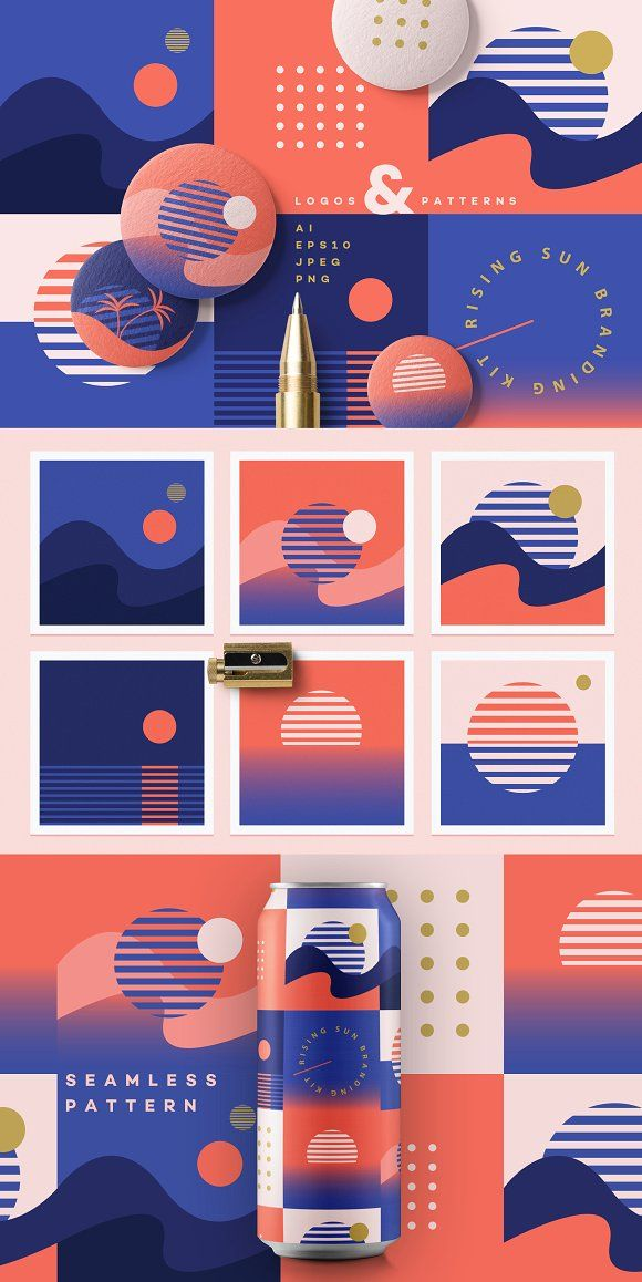 Rising Sun Branding Kit by Polar Vectors on Creative Market #sponsored #graphica...