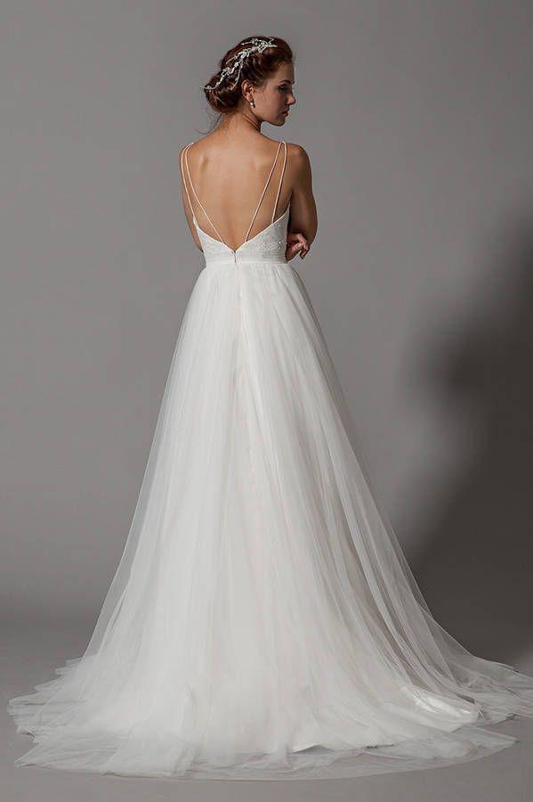 V Neck Embellished Wedding Dress