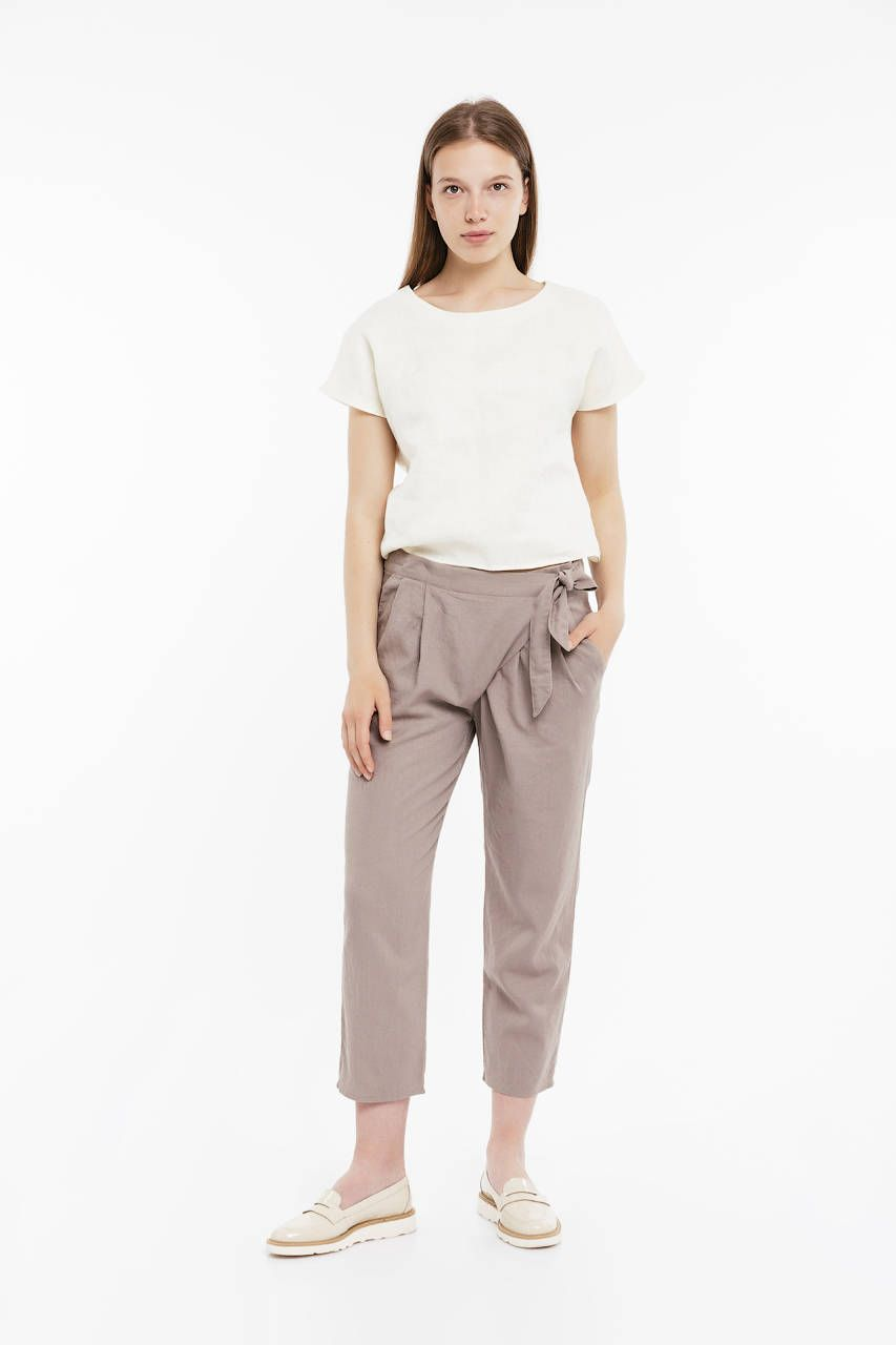 Linen Cropped Trousers / Fisherman Linen Trousers / Loose Women Pants/  Japanese Style Pants /