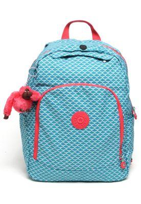 d10502517 Mochila Kipling Back To School LM Carmine Merm P Verde/Coral, com alças de