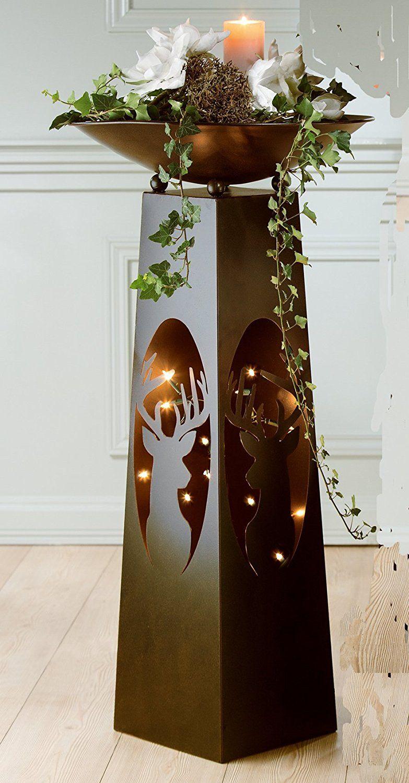 Metallstander Mit Schale Motiv Hirschkopf Amazon De Kuche Haushalt Industriedesign Mobel Dekoration Weihnachtsgarten
