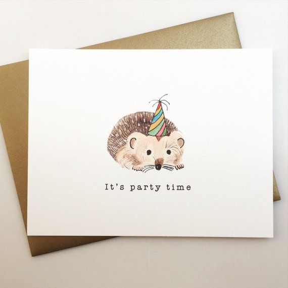 Its Party Time Birthday Card With Hedgehog By Avehdesigns A V E H