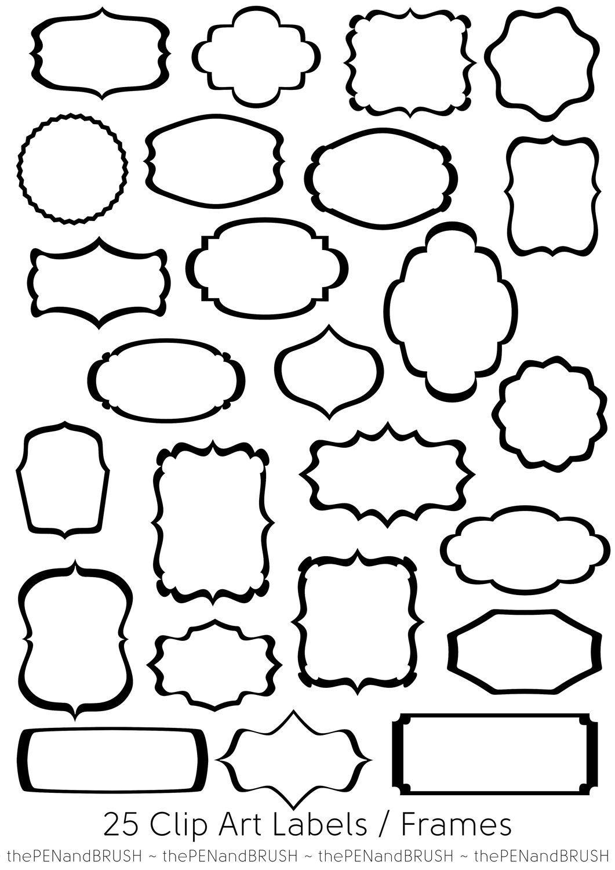 CLIP ART 25 Label Frames // Transparent Middles // Black