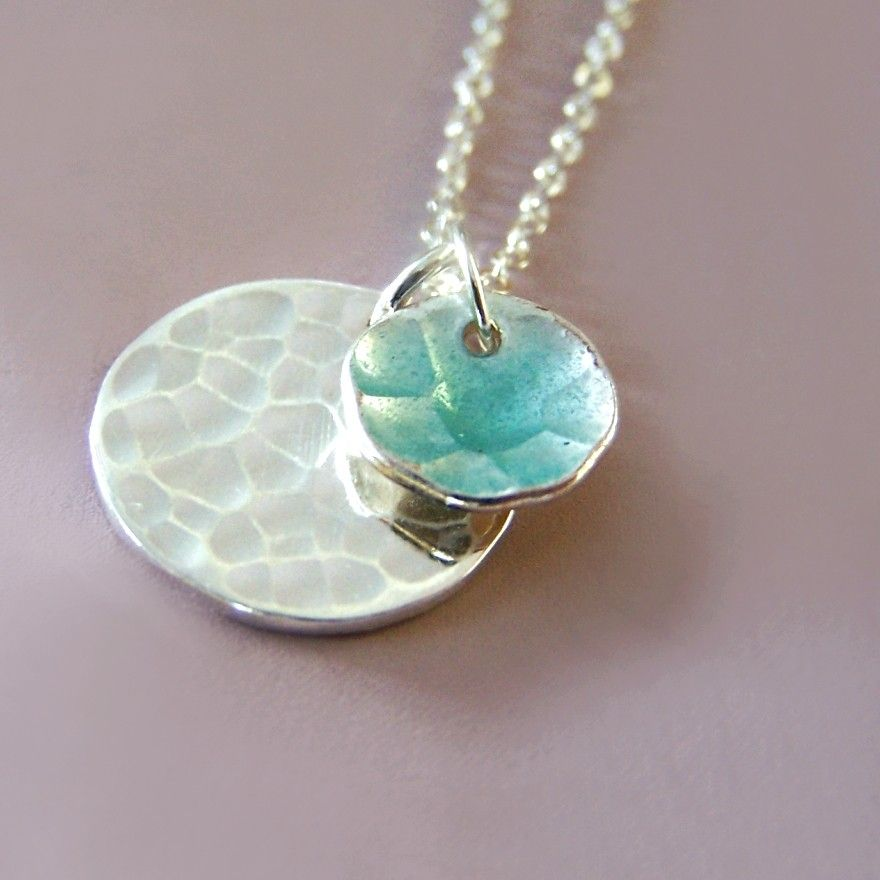 Hammered Sterling Silver and Blue Enamel Necklace  by esdesign