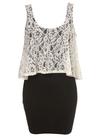 Lace top + black high waisted skirt