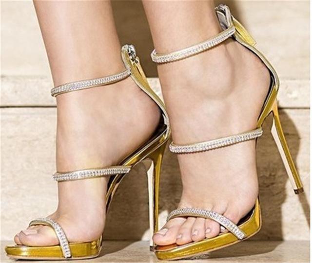 Sestito Luxury Rhinestone Embellished High Heels Wedding Dress Shoes For Ladies  3 Strap Gladiator Sandals Girls Peep Toe Shoes cf04b7973d6f