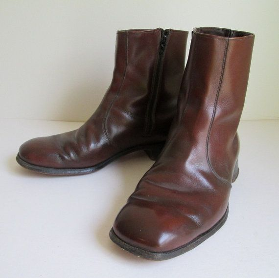 60's/70's NETTLETON Beatle Boots Tall Ankle Disco Brown Leather Hipster Boots size 8 M