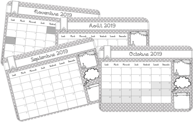 Calendrier Mensuel Maternelle.Calendriers Et Semainiers 2019 2020 Calendrier Scolaire
