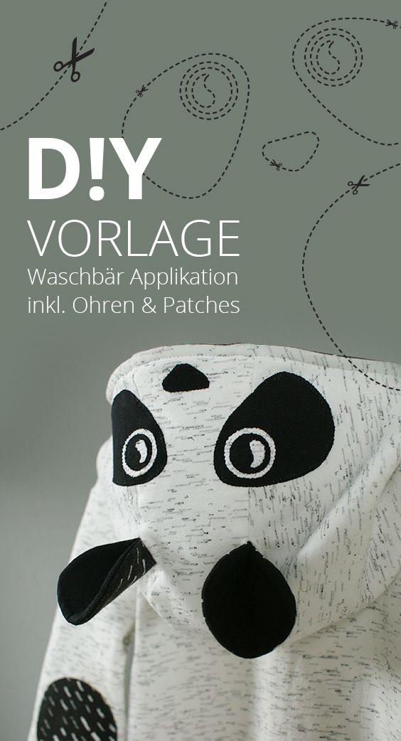 Vorlage » Waschbär Applikation mit Ohren für Hoodies | Ellenbogen ...