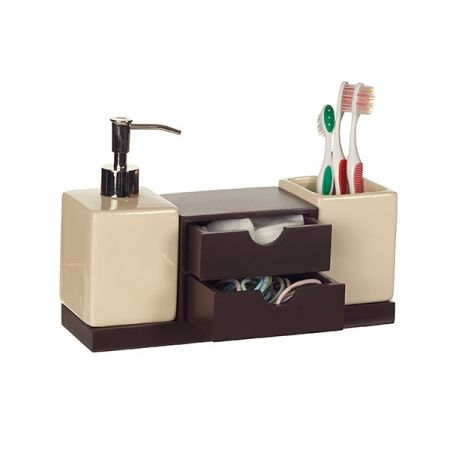 Bathroom Organiser howards storage world | izzy 3 piece bathroom organiser chocolate