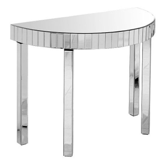 Semi Circle Mirrored Hall Console Table