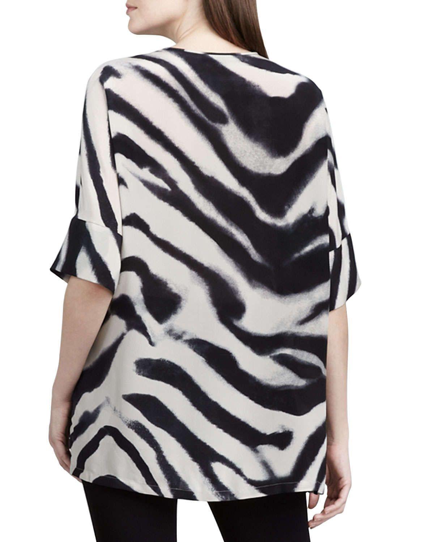 Selene Zebra-Print Silk Top