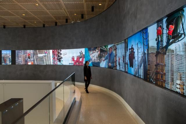 the digital arts wall is a seamless curved digital canvas