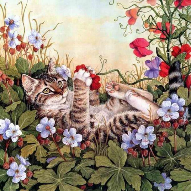 @Tammy Tarng Ritter  Tammy, this cat having so much fun reminded me of you and your zeft for life.  Love you!  Painting of spring cat. Debbie Cook