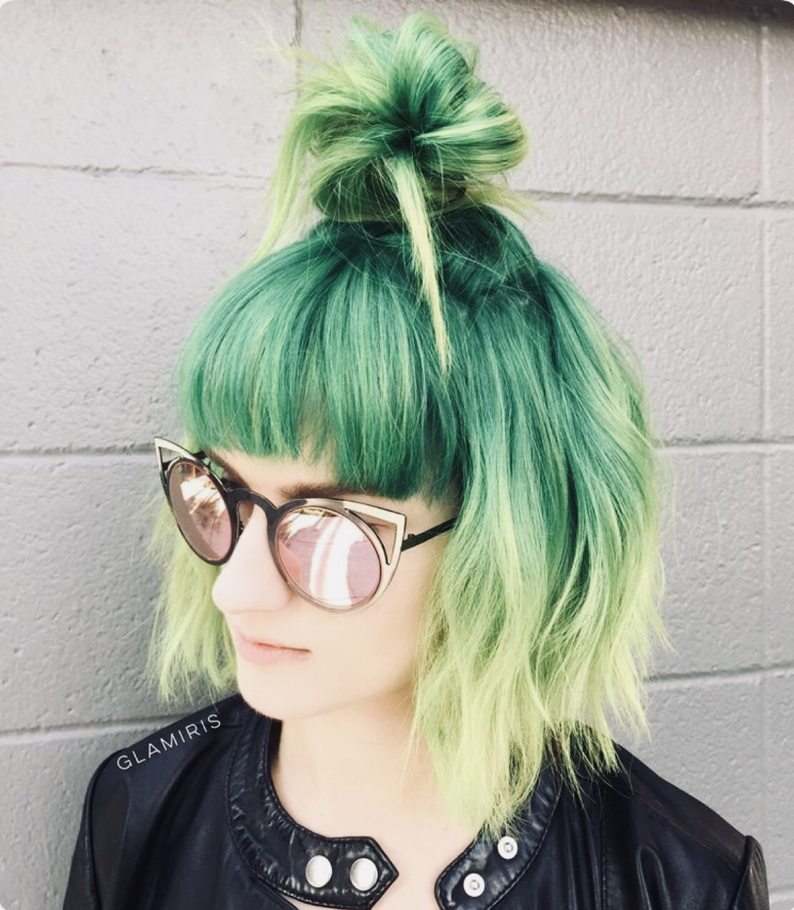 Short Green Hair Half Up Half Down Ombre With Bangs Green Hair Green Hair Colors Short Hair Styles Easy