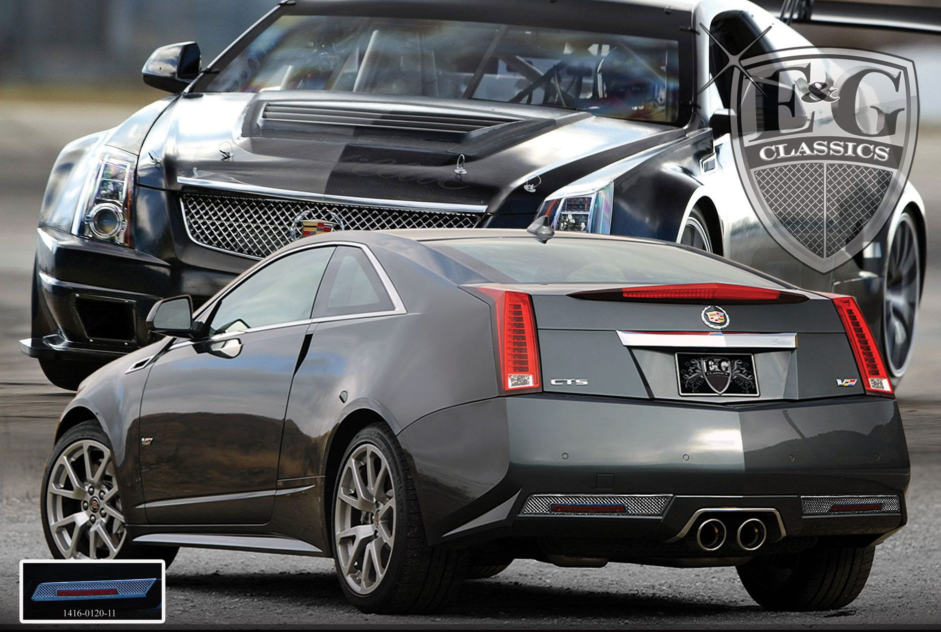 2011-13 Cadillac CTS Chrome Plated 2PC Fine Mesh Style Rear Bumper Accent Kit. Call for part number: 1416-0120-11. Please note that this part fits the CTS-V Coupe only.