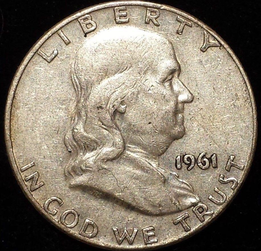 1962 Denver Mint Silver Franklin Half Dollar Liberty Bell Argent Coin Details Half Dollar Coins Franklin