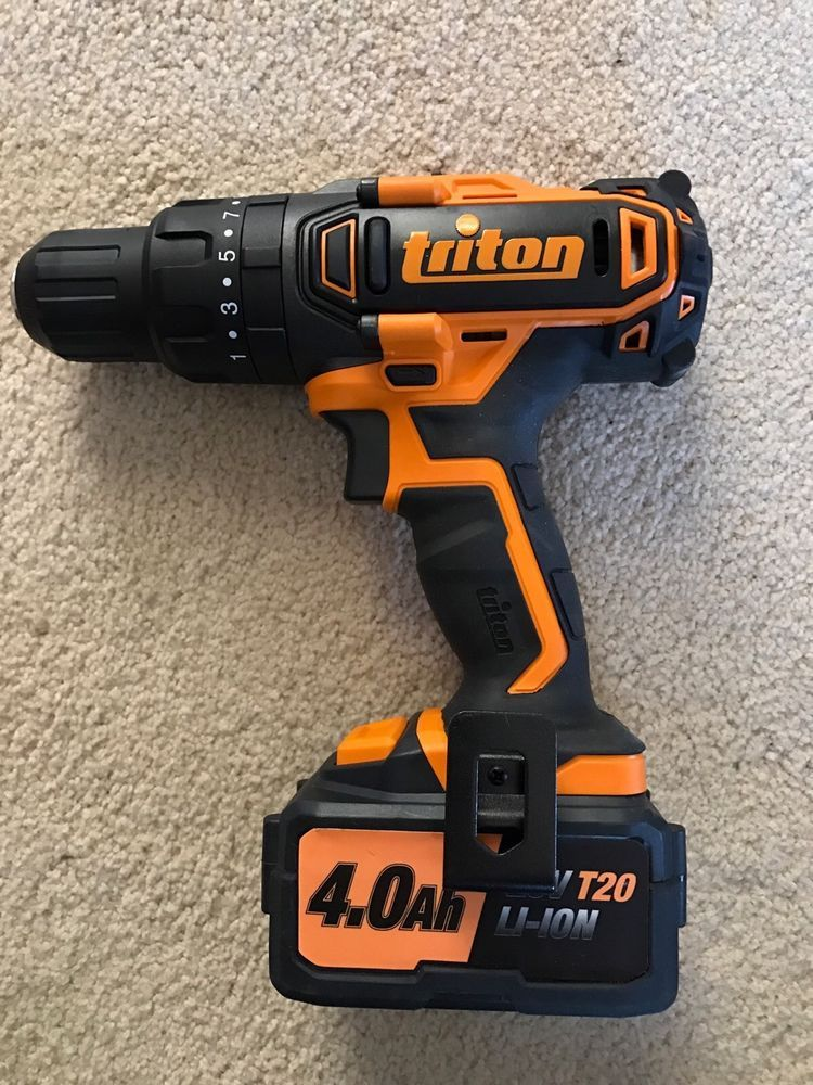 Triton 20v T20ch Hammer Drill With 4 0 Li Ion Battery Pack Charger And Tool Bag Hammer Drill Tools Tool Bag