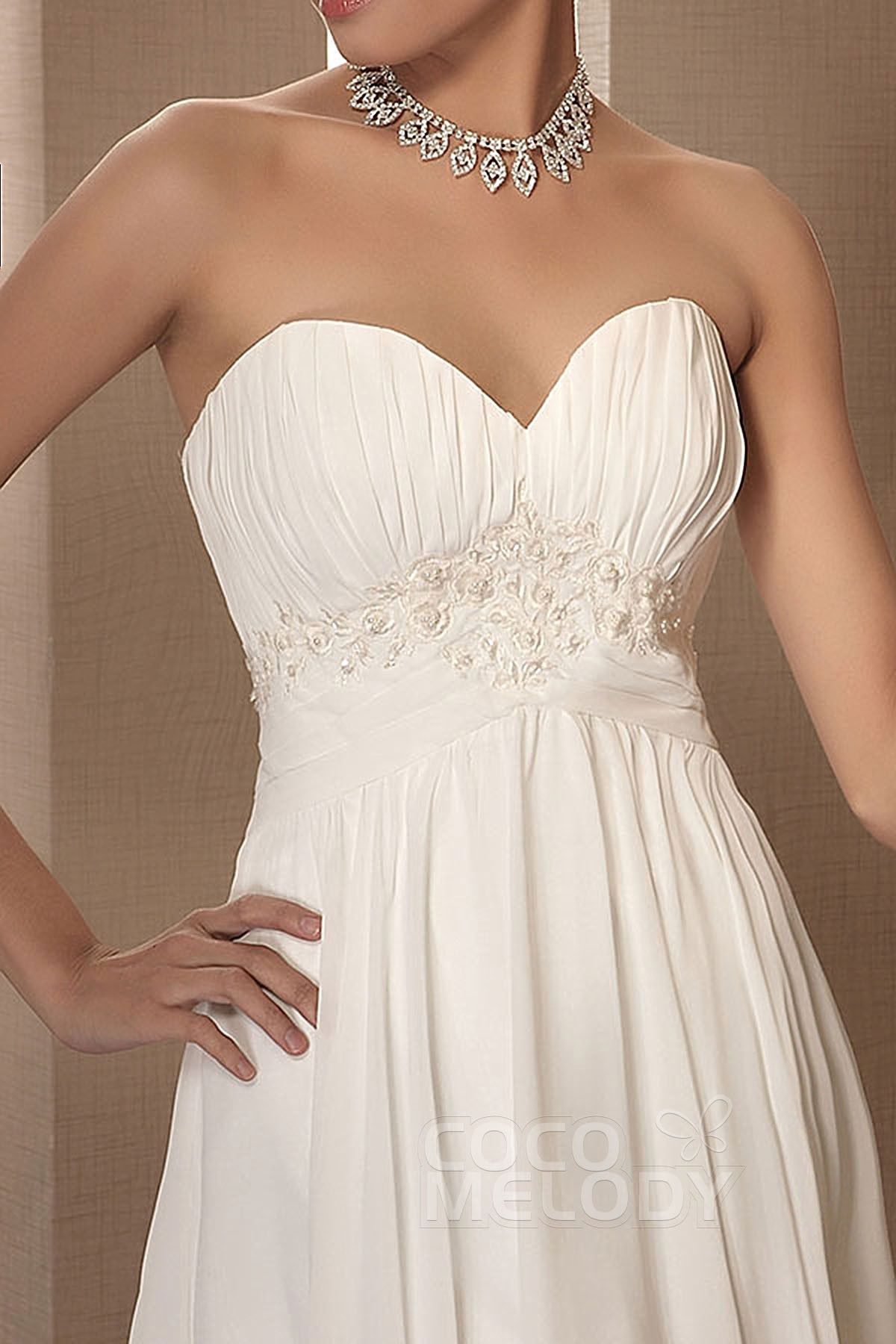 Natural wedding dresses  Sweet SheathColumn Sweetheart Natural Knee Length Chiffon Ivory
