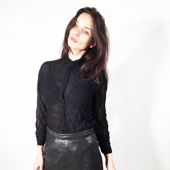 Vintage Black Cruched Sheer Embroidered Mesh Long Sleeve Top Blouse by Ramaci
