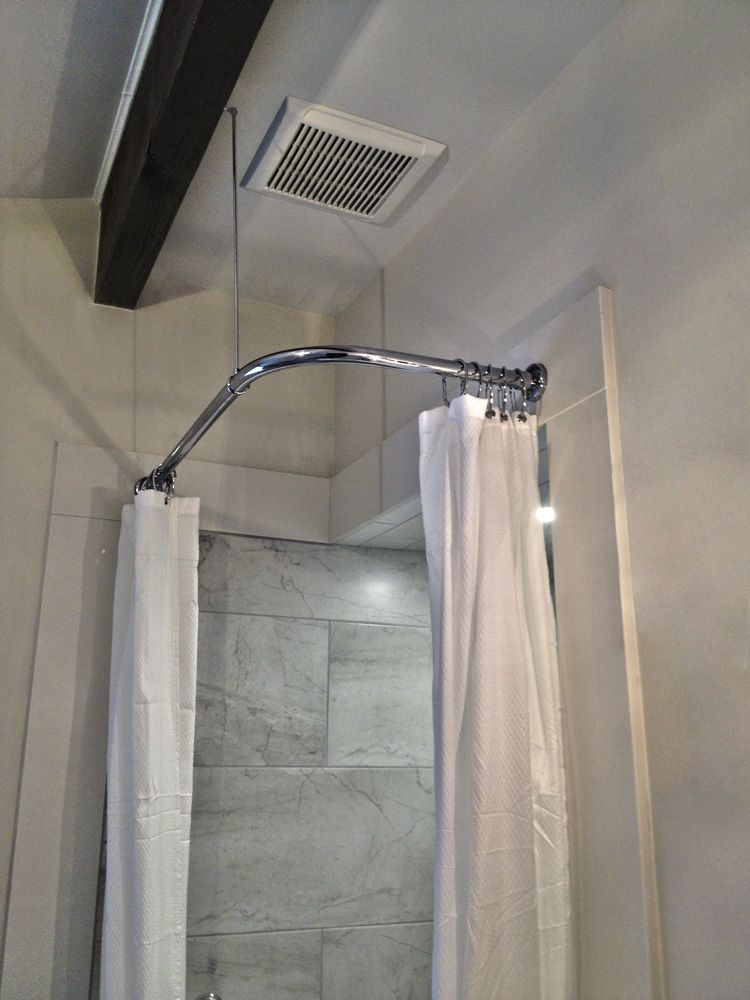 Corner Shower Rod with Heavy Round Brackets and Swivel Ceiling ...
