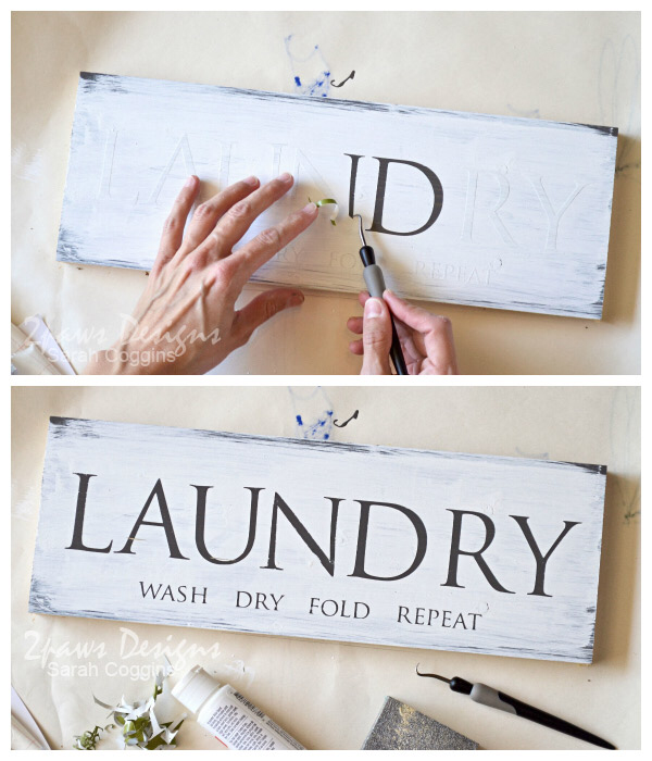 Laundry Room Sign Tutorial | 2paws Designs