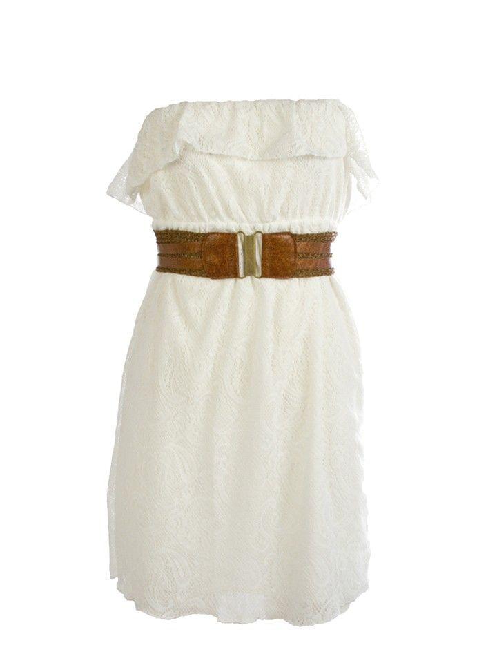 Crochet Ruffle Belted Tube Dress - Dresses - Tops